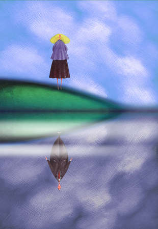 Woman at lakeside looking down at reflection of man
