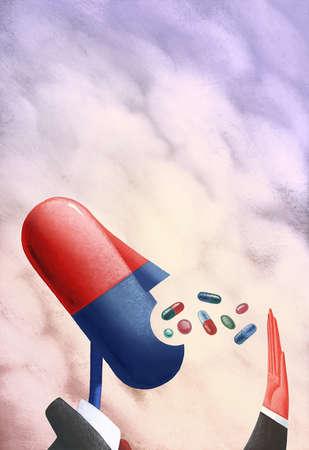 Anthropomorphic capsule taking medication