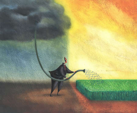Businessman watering crop with hose in storm