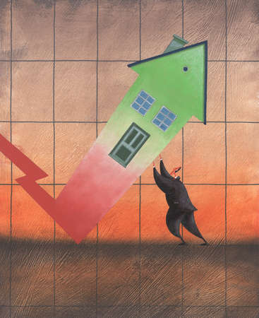 Businessman propping house arrow on chart