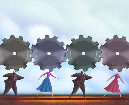 Business people with cog heads in a row