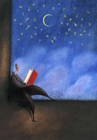 Businessman reading book under letters in night sky
