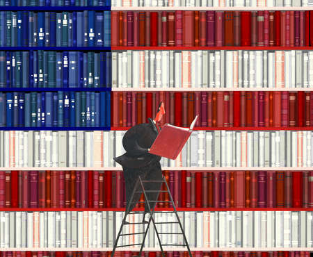 Businessman on ladder reading book from American flag bookcase