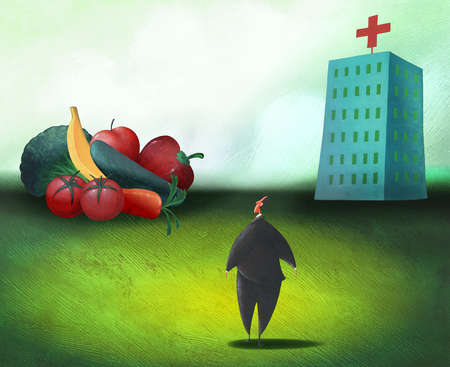 Businessman looking at pile of vegetables and hospital