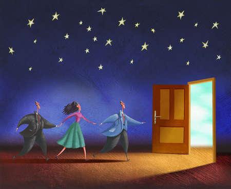 Doctor and couple running towards door