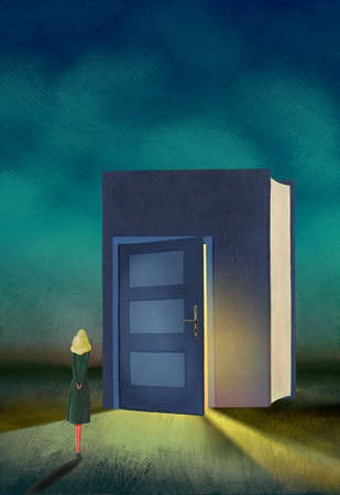 Woman standing at large book with door