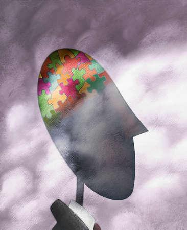 Jigsaw pieces in man's head