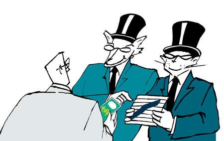 Businessman handing money to animals in suits