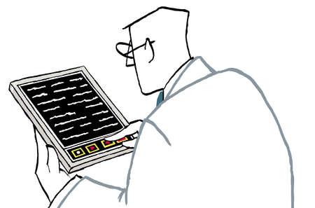 Businessman using digital tablet to write