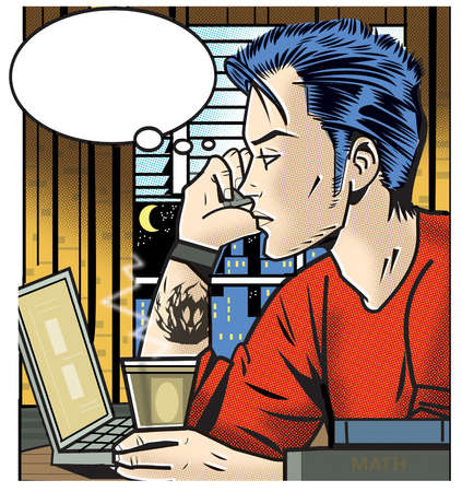Teenage boy talking on cell phone with thought bubble