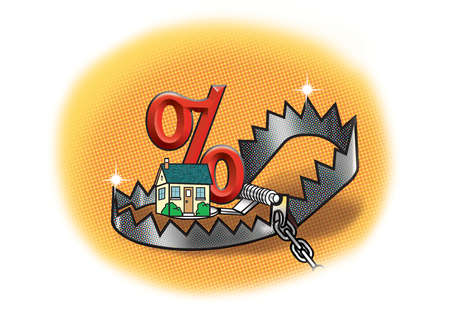 House with percentage sign in bear trap