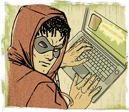 Man in mask using password protected laptop