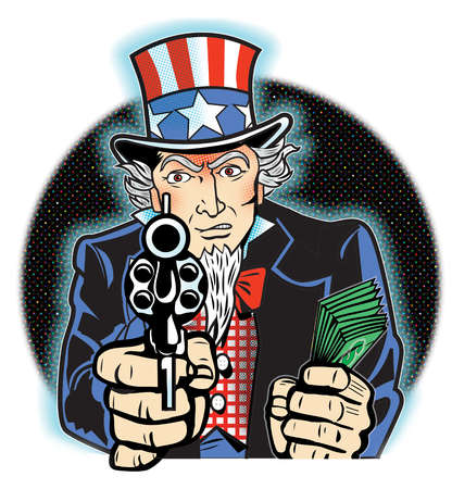 Uncle Sam holding dollar bills and gun