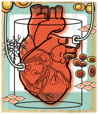 Heart in glass jar with cells