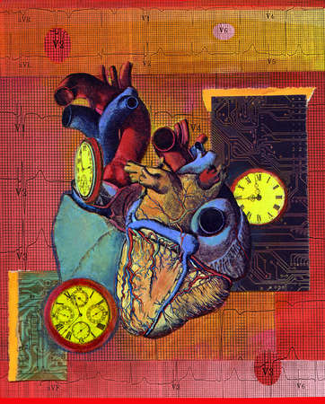 Anatomical heart with clocks