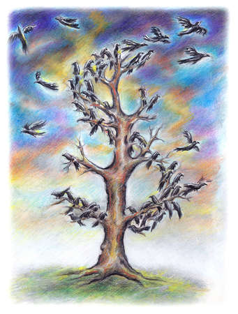 Bare tree with birds on branches
