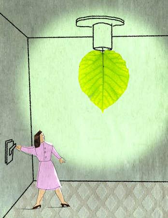 Woman turning on leaf light