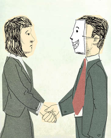 Businessman in mask shaking hands with colleague