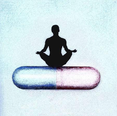 Person meditating on pill