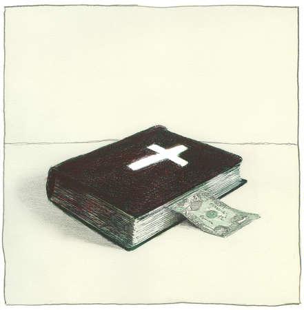 Dollar bill inside bible