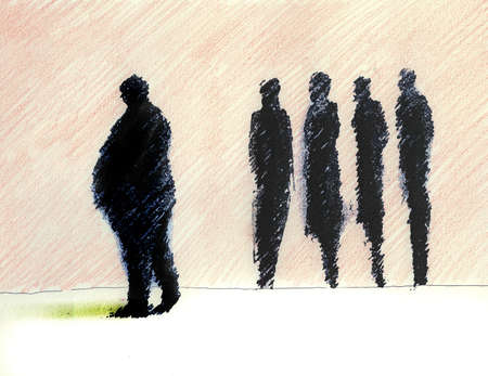 Overweight man walking by thin colleagues