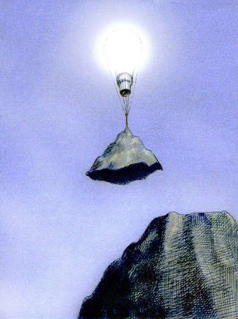 Light bulb lifting mountain top