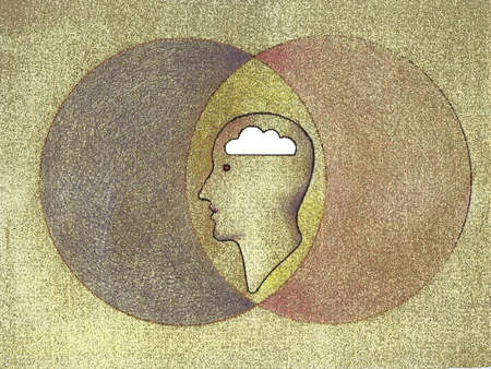 Head with cloud in center of Venn diagram