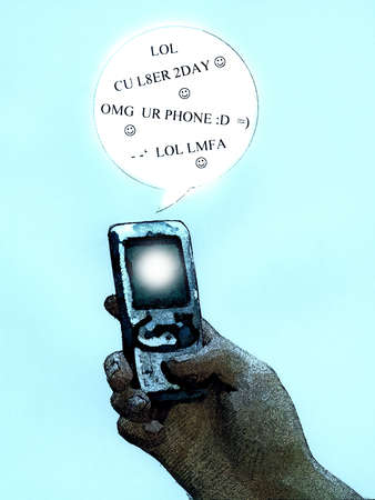 Cell phone with text language in speech bubble