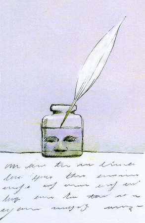 Face in jar of ink with feather quill