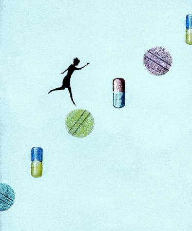 Woman jumping on pills