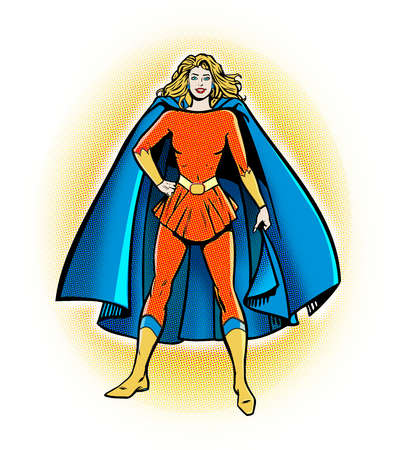 Woman in superhero outfit with cape