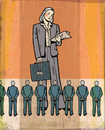 Businesswoman standing over colleagues