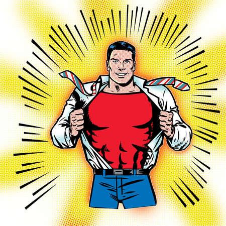Superhero opening shirt to expose costume