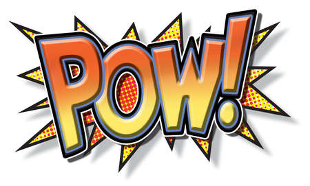 Graphic with letters that spell pow!
