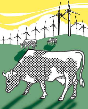 Cows grazing in field with wind turbines