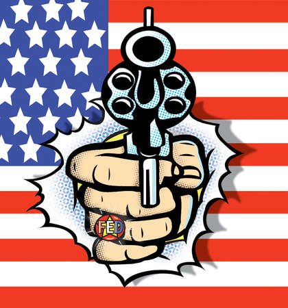 Hand with gun bursting out of American flag
