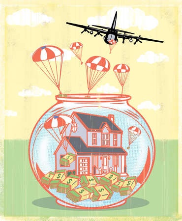 Airplane dropping aid to house in fishbowl