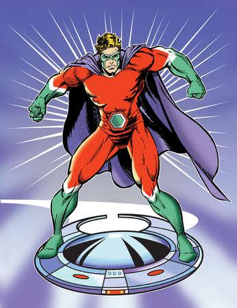 Superhero riding flying disk