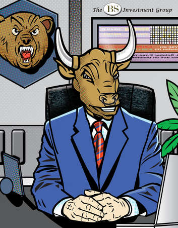 Businessman with bull head in office
