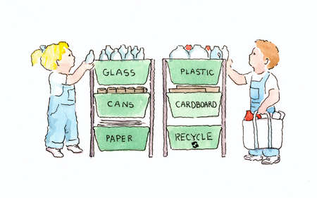 Boy and Girl Recycling Household Items