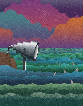 Businesswoman using telescope over stormy sea