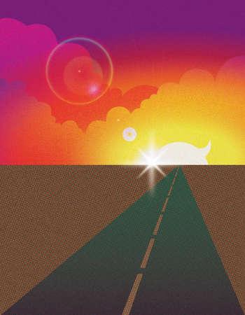 Sunburst over remote road