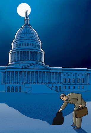 Businessman peeling shadow of Capitol building