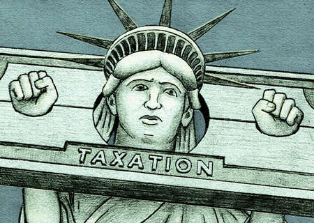 Lady Liberty in stocks labeled taxation