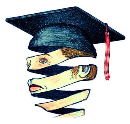 Ribbons forming graduate's head