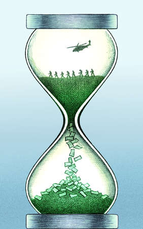Soldiers and helicopter in money hourglass