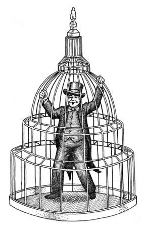 Smiling businessman in Capitol building cage