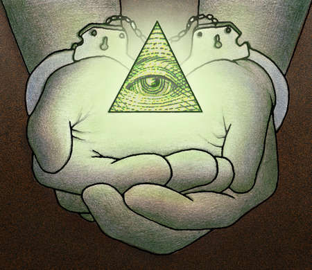 Handcuffed hands holding glowing pyramid with eye