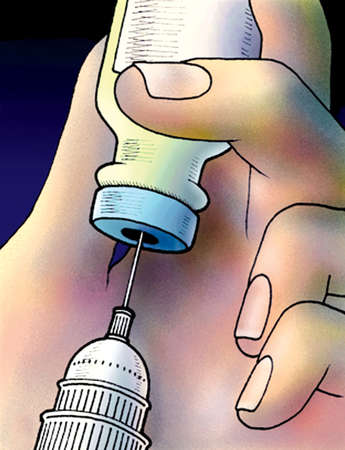 Capitol building on syringe in medicine bottle
