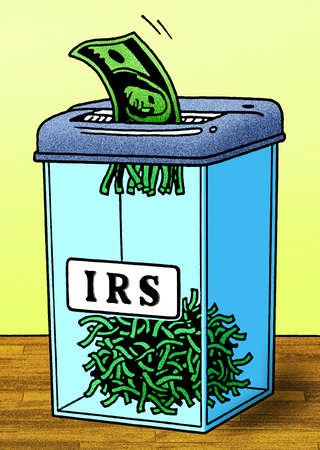 Dollar bills in shredder labeled IRS